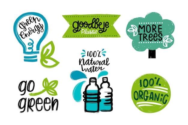 Ecologie badges tekening concept Gratis Vector