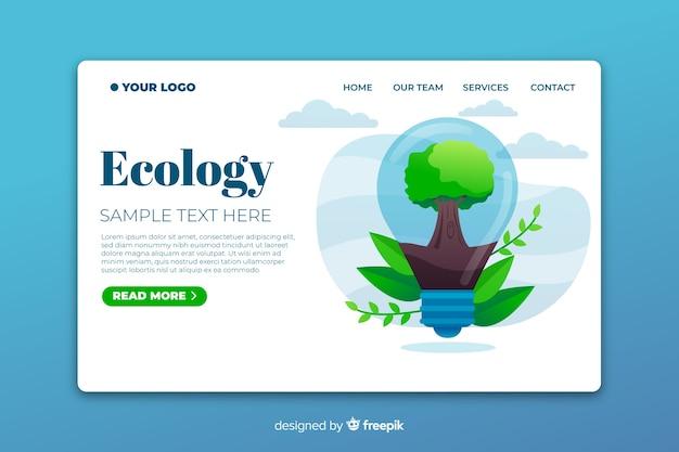 Ecologie bestemmingspagina met boom in een gloeilamp Gratis Vector