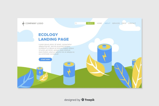 Ecologie bestemmingspagina plat ontwerp Gratis Vector