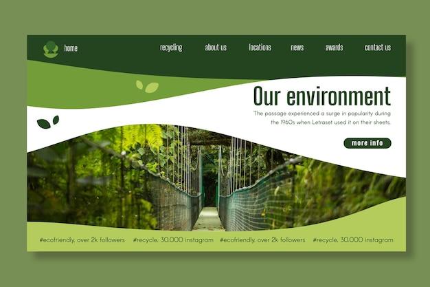 Ecologie bestemmingspagina sjabloon Gratis Vector
