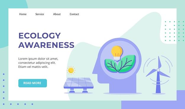 Ecologie bewustzijn gloeilamp blad in hoofd wind zonne-energiecampagne voor de startpagina van de website van de website Premium Vector