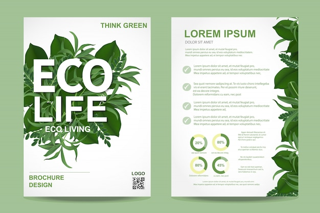 Ecologie brochure folder Premium Vector