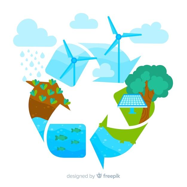 Ecologie concept achtergrond plat ontwerp Gratis Vector