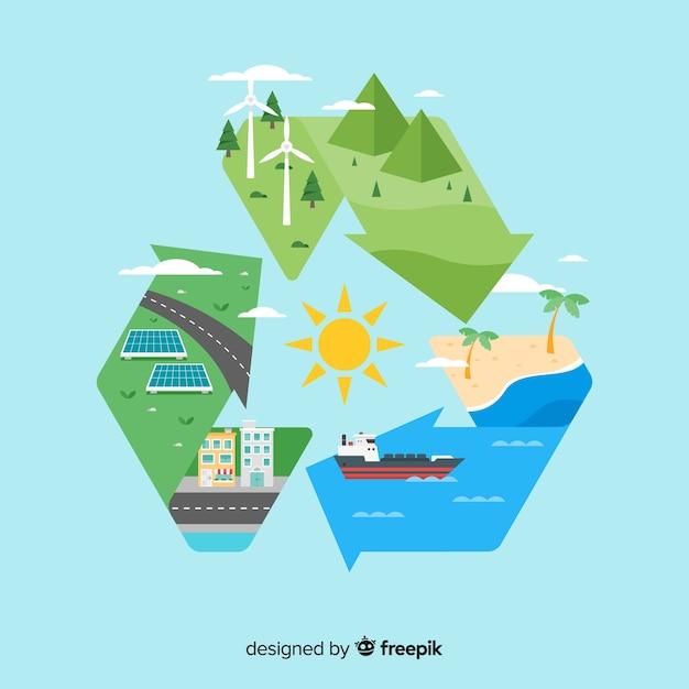 Ecologie concept achtergrond vlakke stijl Gratis Vector