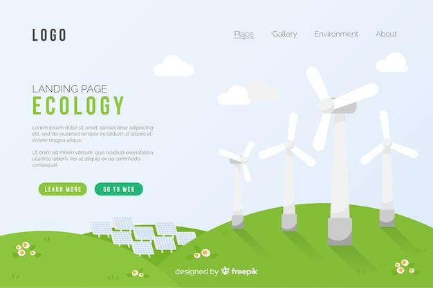 Ecologie concept bestemmingspagina sjabloon Gratis Vector