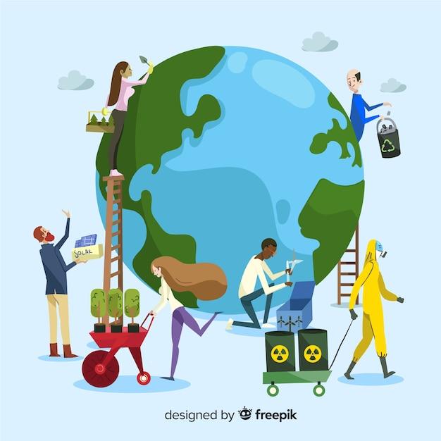 Ecologie concept. groep mensen die voor de planeet zorgen, de aarde redden Gratis Vector