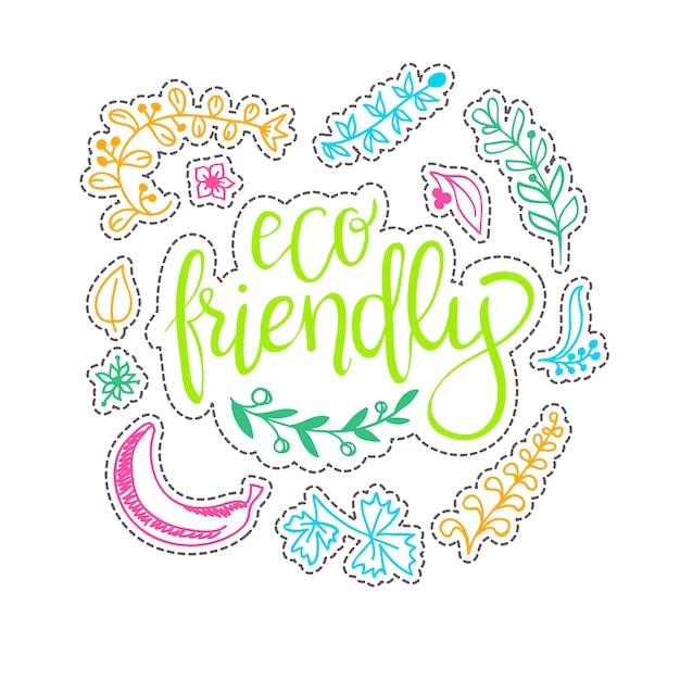 Ecologie concept - ontwerpelement gemaakt van stickers Gratis Vector