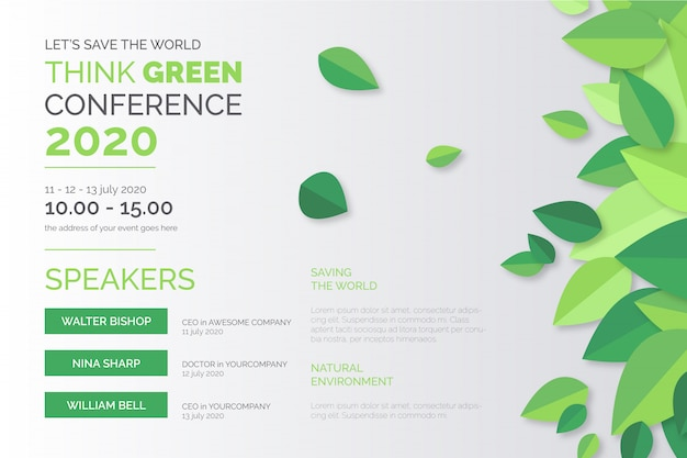 Ecologie conferentie poster sjabloon Gratis Vector