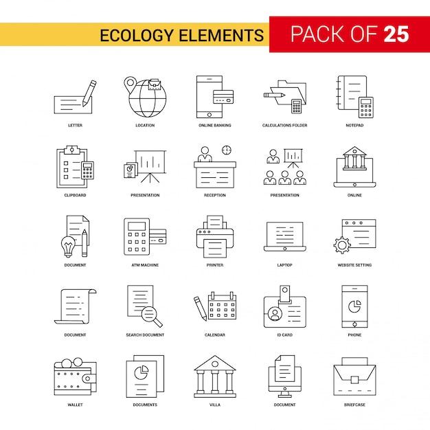 Ecologie elementen zwarte lijn pictogram Gratis Vector
