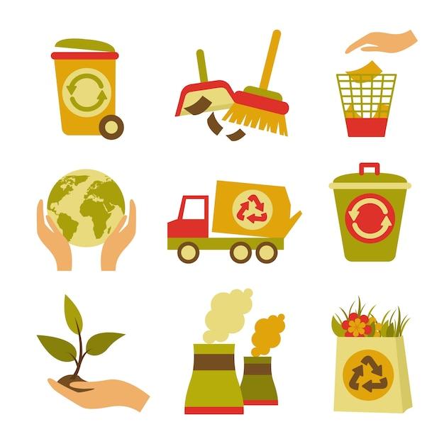 Ecologie en afval gekleurde pictogrammen set prullenbak kan globe plant geïsoleerde vector illustratie Gratis Vector