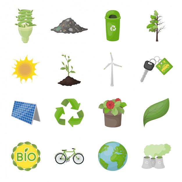 Ecologie en bio cartoon ingesteld pictogram. geïsoleerde groene ecologie cartoon ingesteld pictogram. illustratie bio en organisch. Premium Vector