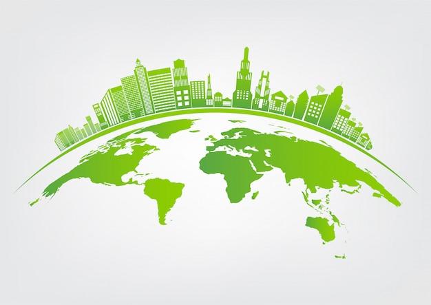 Ecologie en milieuconcept, het symbool van de aarde met groene bladeren rond steden helpen de wereld met eco-vriendelijke ideeën Premium Vector
