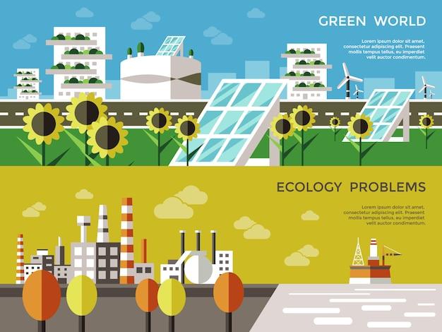 Ecologie gekleurde banner set Gratis Vector