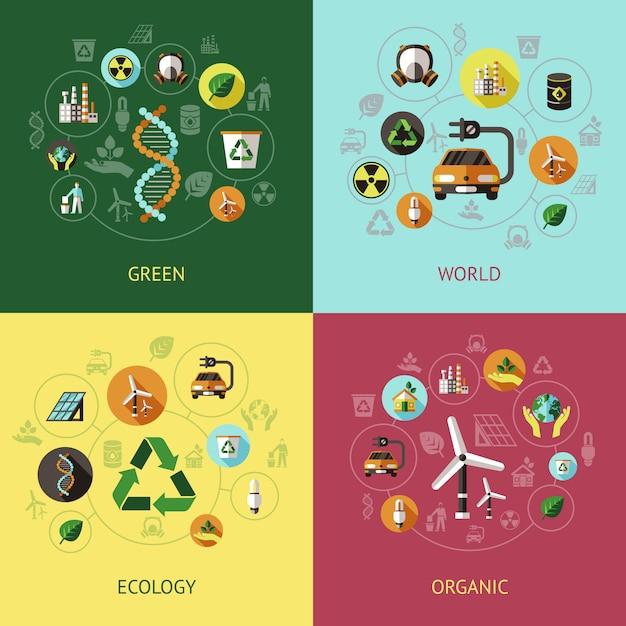 Ecologie gekleurde composities Premium Vector