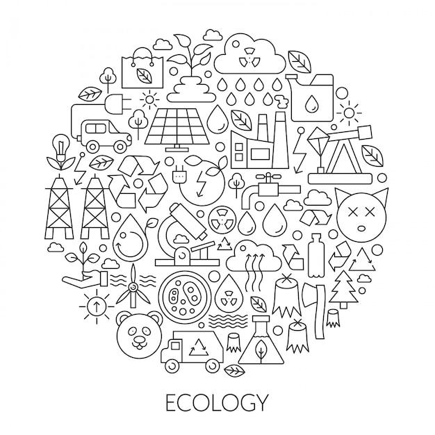Ecologie groene technologie lijn embleem Premium Vector