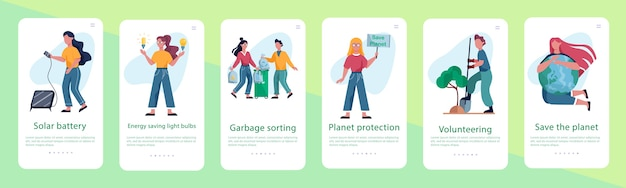 Ecologie. idee van recycling, afval sorteren en alternatieve energie. Premium Vector