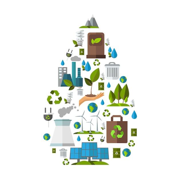 Ecologie illustratie set Gratis Vector