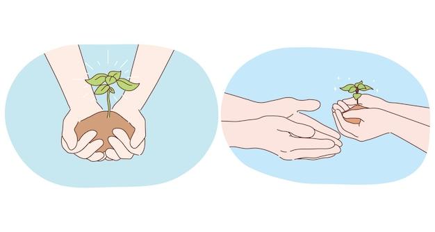 Ecologie, milieubescherming en tuinieren concept. menselijke handen met stuk grond met Premium Vector