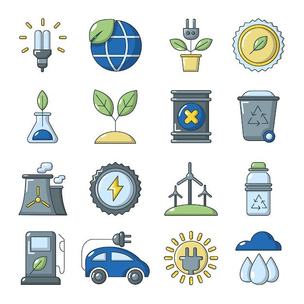 Ecologie pictogrammen instellen Premium Vector