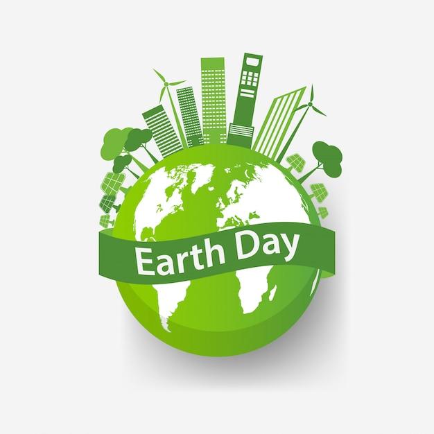 Ecologie stadsconcept en omgeving met milieuvriendelijke ideeën Premium Vector