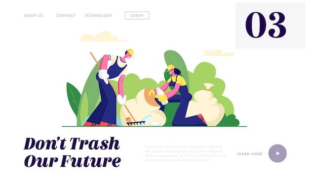 Ecologiebescherming, vrijwilligers die afval in het stadspark schoonmaken. Premium Vector