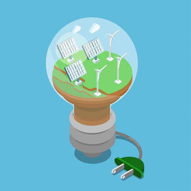 Ecologisch alternatief eco groen energie isometrisch concept. zonne batterijen windturbines op groen gras binnen lampillustratie. Premium Vector