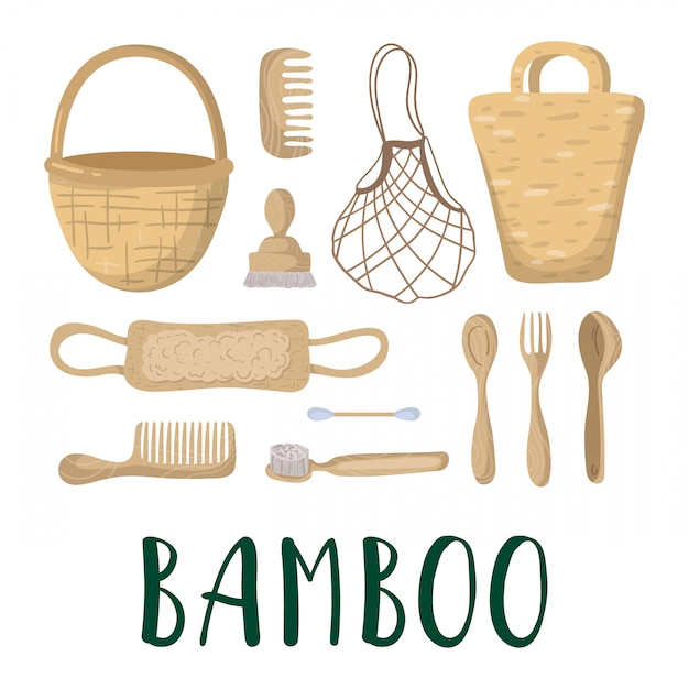 Ecologisch concept - bamboetassen, bestek Premium Vector