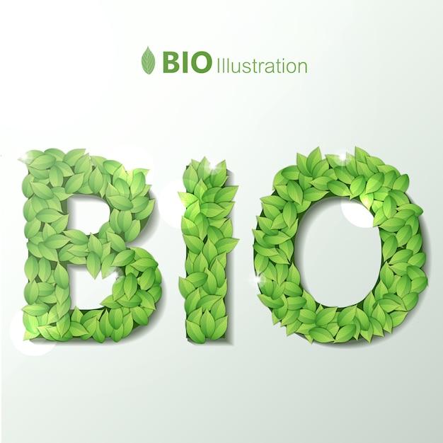 Ecologisch met bio-tekst geschreven door letters gemaakt van groene bladeren garland lettertype Gratis Vector