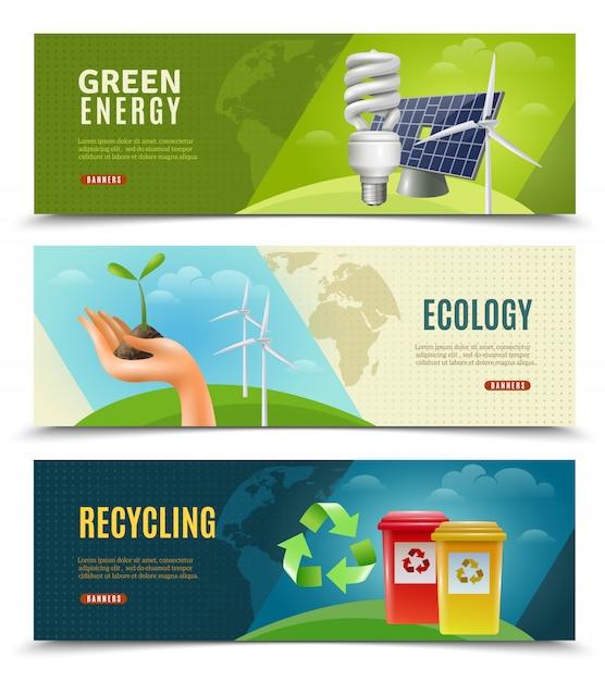 Ecologische 3 horizontale bannerset Gratis Vector