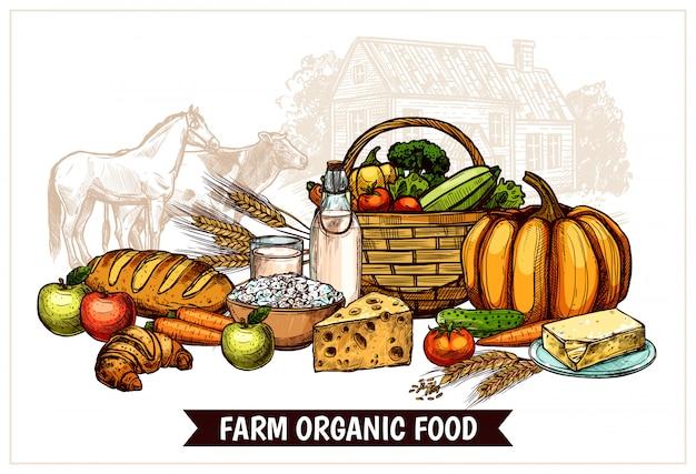 Ecologische boerderij poster Gratis Vector
