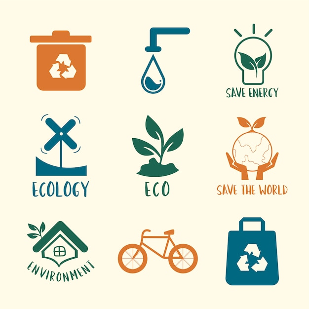 Ecologische instandhouding symbool ingesteld illustratie Gratis Vector