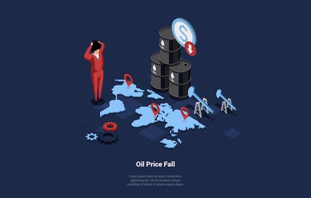 Economische crisis concept isometrische vectorillustratie. 3d-compositie in cartoon-stijl van dalende olieprijs idee. geschokt zakenman permanent in de buurt van wereldkaart met navigator borden en benzinevaten. Premium Vector