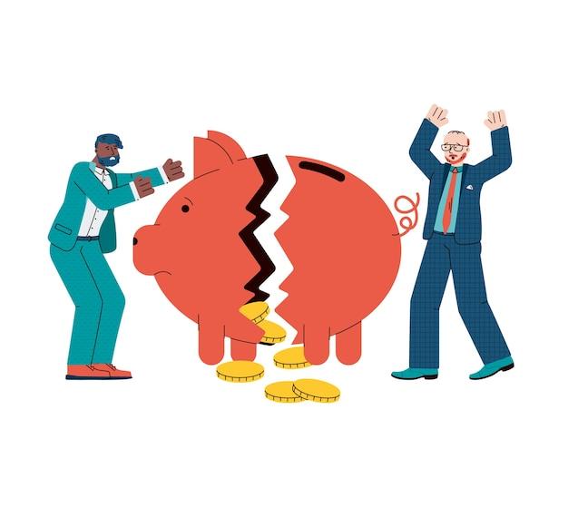 Economische crisis en financiële faillissementsillustratie Premium Vector