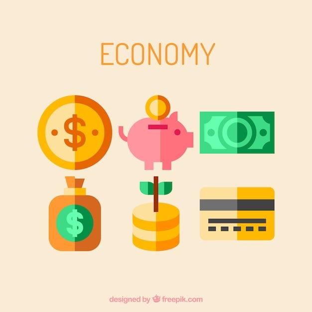 Economische pictogrammen in groen en geel Gratis Vector