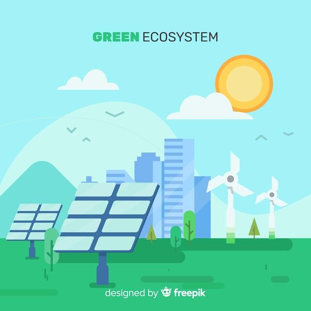 Ecosysteemconcept met zonnecellen Gratis Vector