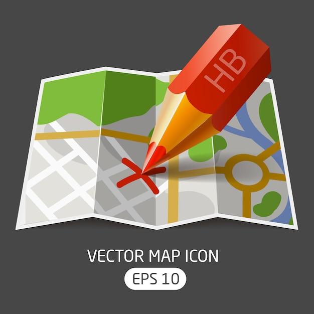 Ector pictogram papieren kaart met een rood potlood mark gemaakt Premium Vector
