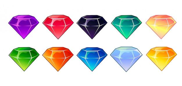 Edelstenen en diamanten pictogrammen instellen in verschillende kleuren Premium Vector