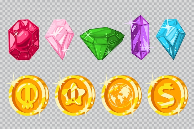 Edelstenen en gouden munten Premium Vector
