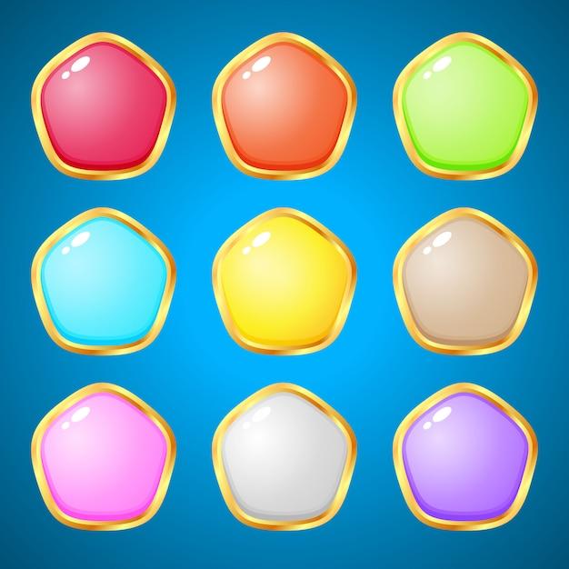 Edelstenen pentagon 9 kleuren voor puzzelspellen. Premium Vector