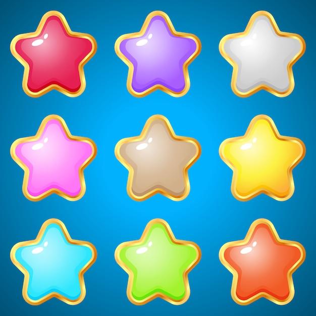 Edelstenen sterren 9 kleuren voor puzzelspellen. Premium Vector