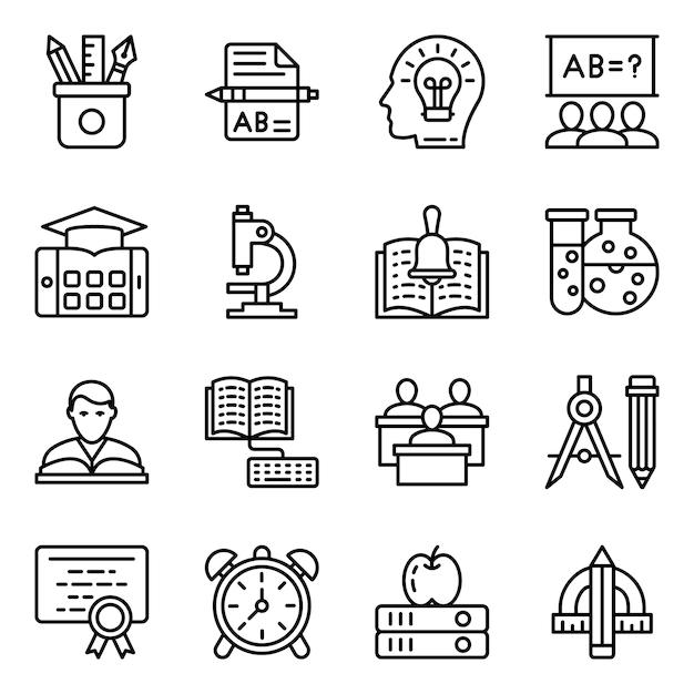 Educatief gereedschap line icons pack Premium Vector