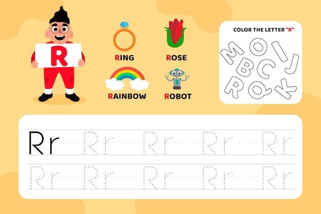 Educatief letter r-werkblad met illustraties Gratis Vector