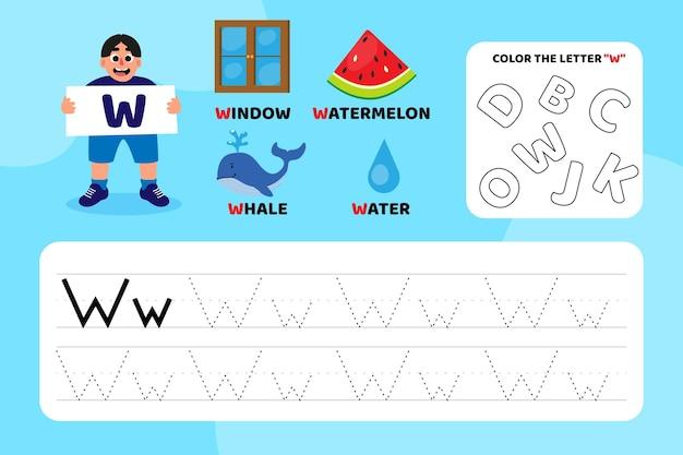 Educatief letter w-werkblad met illustraties Premium Vector