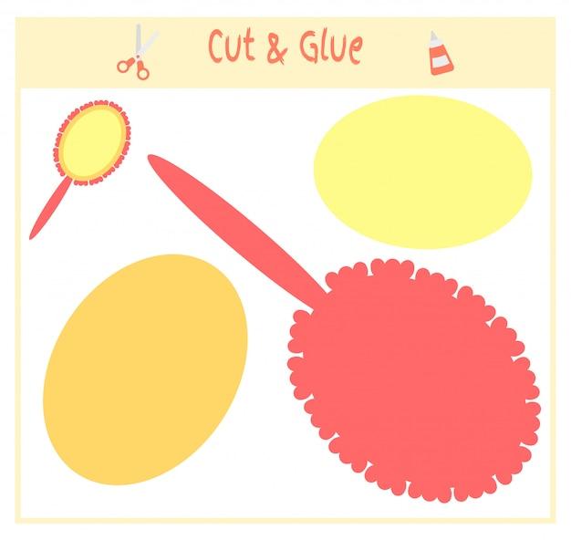 Educatief papieren spel voor de ontwikkeling van kleuters. knip delen van de afbeelding en lijm deze op het papier. Premium Vector