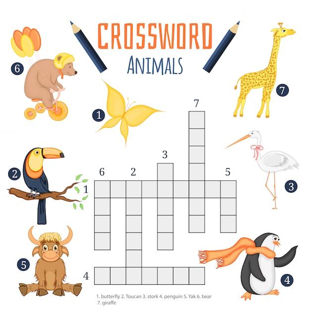 Educatief spel voor kinderen over dieren Premium Vector