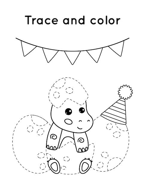 Educatief spel voor kinderen. overtrekken en kleuren. het verjaardagsfeestje van de kleine dinosaurussen. Premium Vector