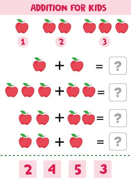 Educatief spel voor wiskundekinderen met appels voor kinderen. Premium Vector