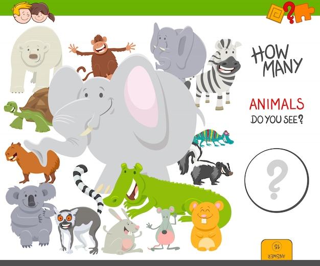 Educatief tellen spel voor kinderen met dieren Premium Vector