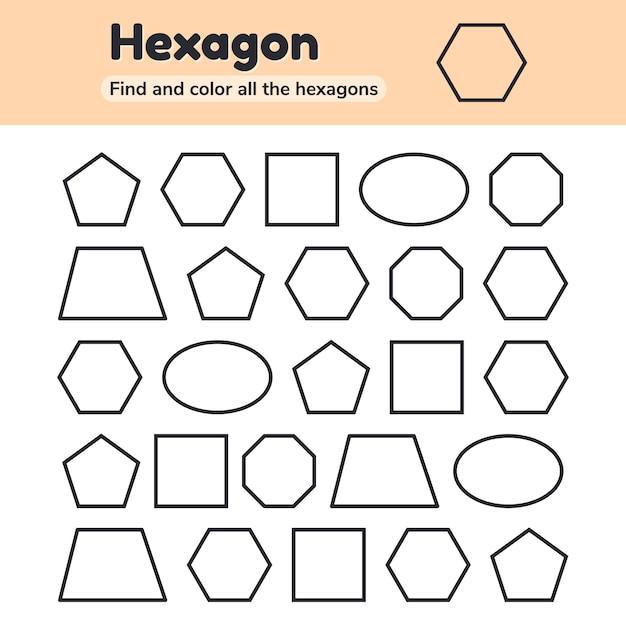 Educatief werkblad voor kinderen in de kleuterschool, kleuterschool en schoolgaande leeftijd. geometrische vormen. vijfhoek, achthoek, zeshoek, trapezium, ovaal, vierkant. zoek en kleur. Premium Vector