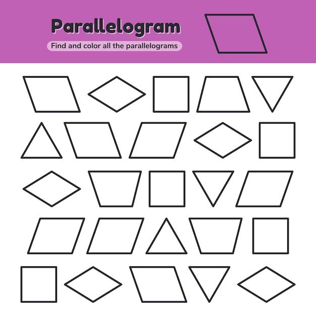 Educatief werkblad voor kinderen kleuterschool Premium Vector